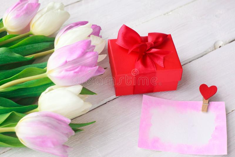 Tulipas brancas e roxas e um presente em uma caixa vermelha em um fundo de madeira branco Mola Dia internacional do ` s das mulhe imagem de stock royalty free
