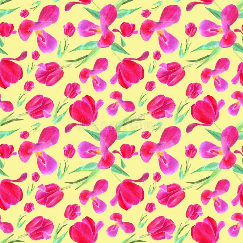 Tulipas cor-de-rosa com folhas Teste padr?o sem emenda Textura para a c?pia, tela, mat?ria t?xtil, papel de parede Ilustra??o tir ilustração royalty free