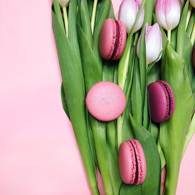Tulipas cor-de-rosa do bolinho de amêndoa fotos de stock royalty free