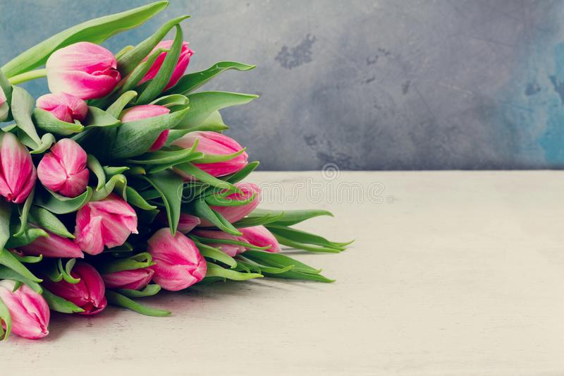Tulipas frescas cor-de-rosa fotografia de stock royalty free