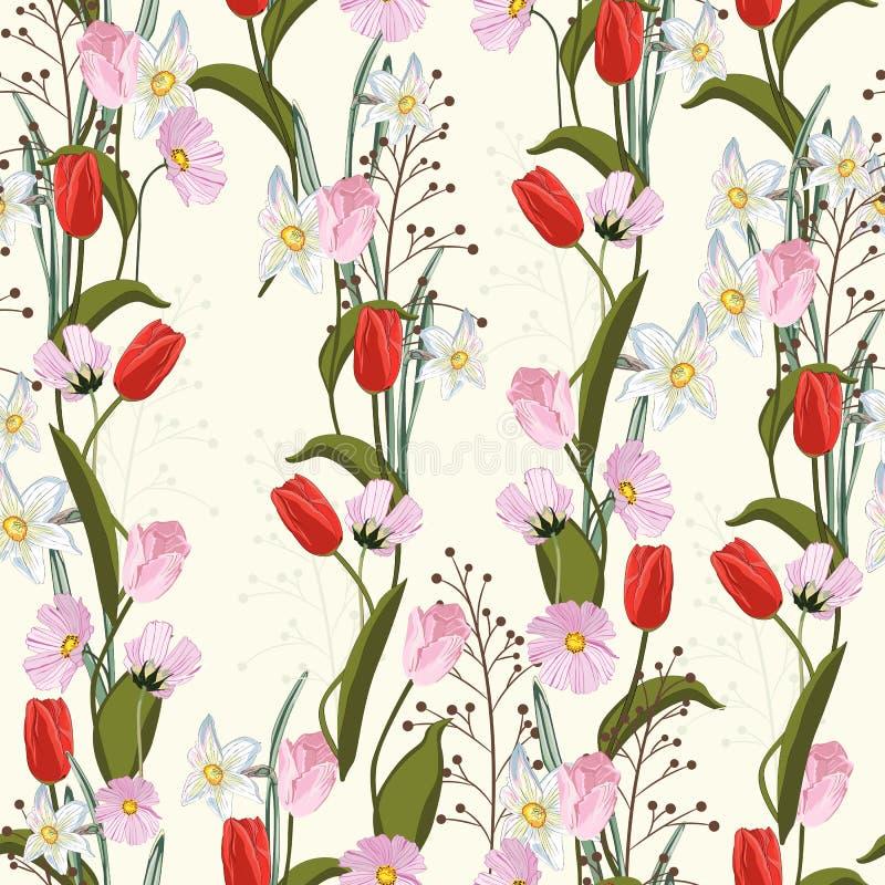 Tulipas Textura sem emenda tirada mão do vetor Teste padrão floral com tipo diferente das flores ilustração royalty free