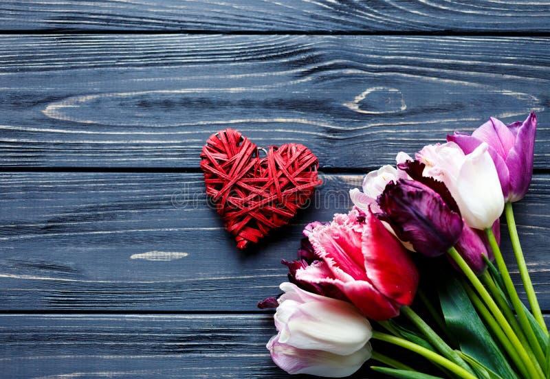 Tulipas violetas cor-de-rosa bonitas coloridas e coração vermelho na tabela de madeira cinzenta Valentim, fundo da mola Zombaria  fotos de stock