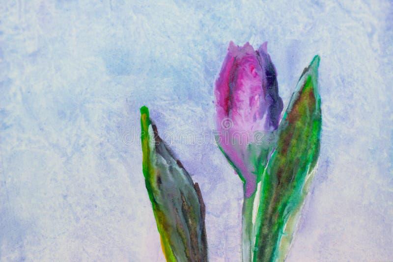 Tulipe, aquarelle, dessinant par la brosse image libre de droits