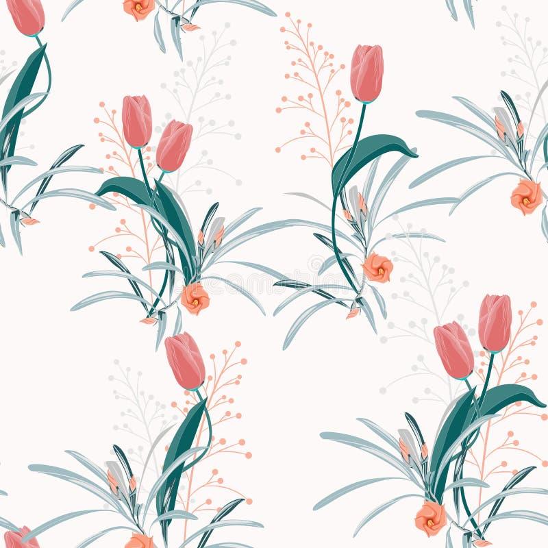 Tulipe orange de floraison sauvage à la mode freshy de fleur de bel été et modèle sans couture d'alstroemeria illustration libre de droits