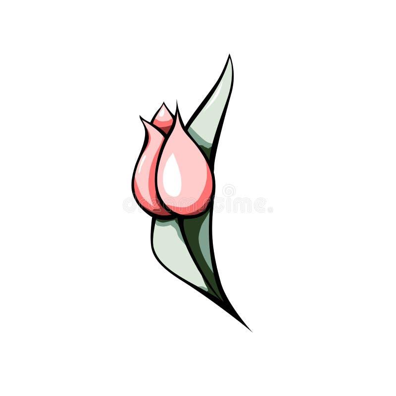 Tulipe rose Illustration abstraite sur le contexte coloré Fond de fleur de ressort Bannière de vente de ressort illustration stock