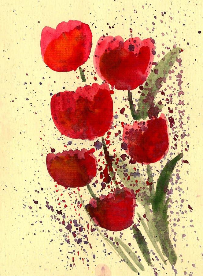 Tulipe rouge peinte dans l'aquarelle illustration stock