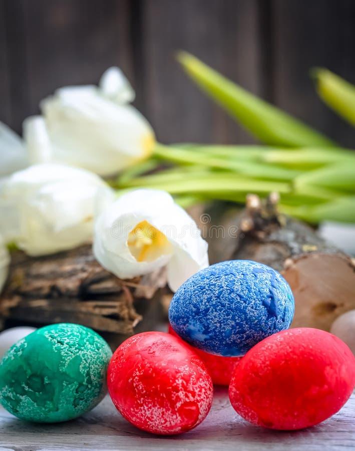 Tulipes blanches et oeufs de pâques colorés image libre de droits