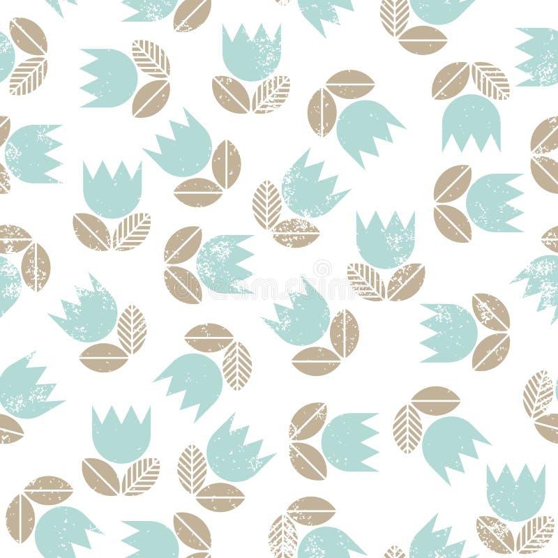 Tulipes bleues avec le patte sans couture malpropre de feuilles beiges illustration de vecteur