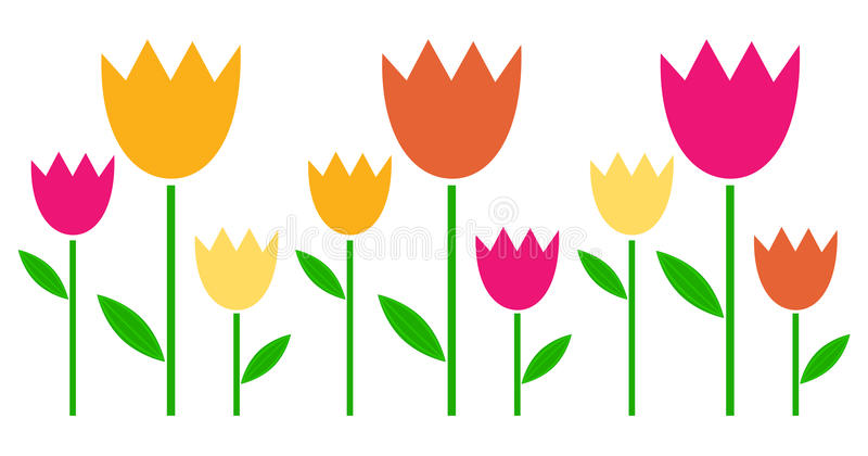 Tulipes colorées de ressort dans la rangée illustration stock