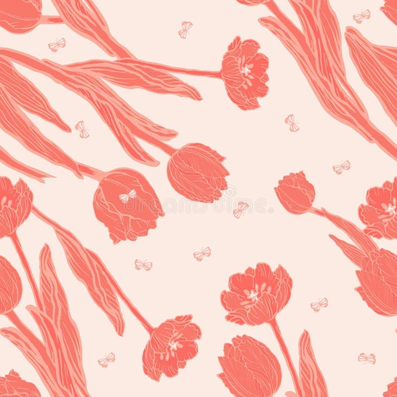 Tulipes de corail de pêche avec le modèle sans couture de papillons illustration de vecteur