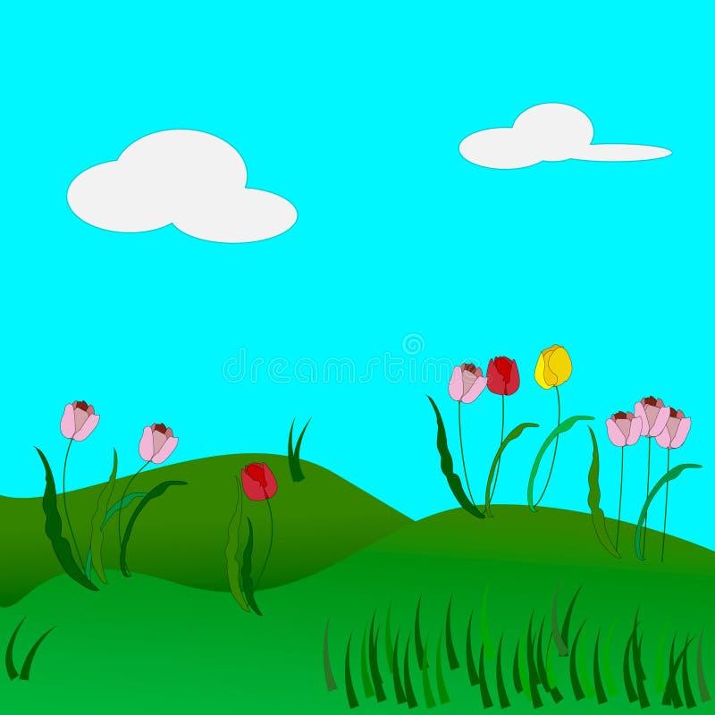 Tulipes de ressort sur un fond d'herbe verte et de ciel bleu illustration de vecteur