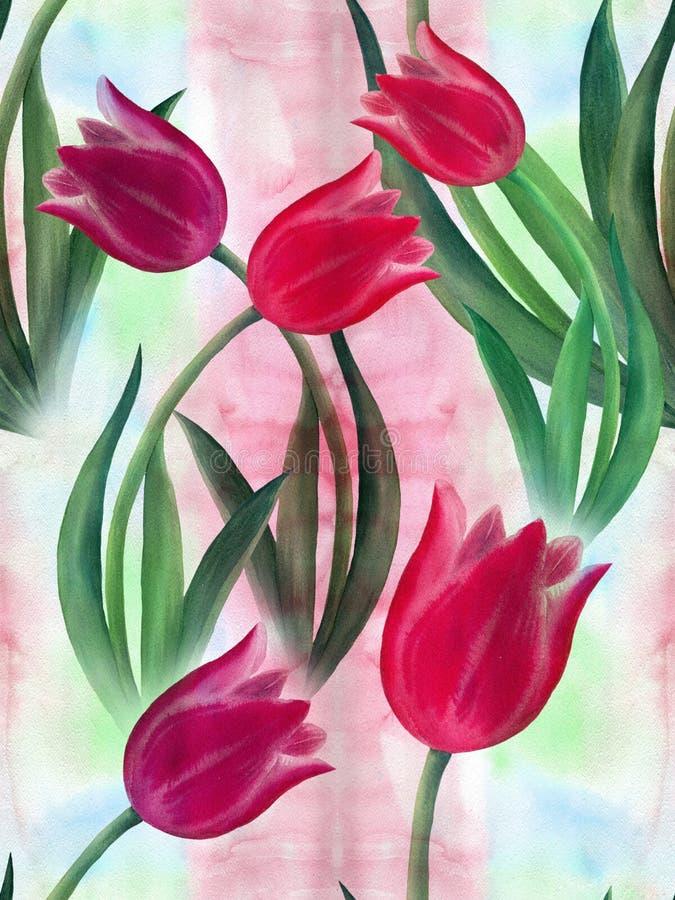 Tulipes Fleurs, feuilles Employez les matériaux imprimés, signes, articles, sites Web, cartes, affiches, cartes postales, empaque illustration de vecteur