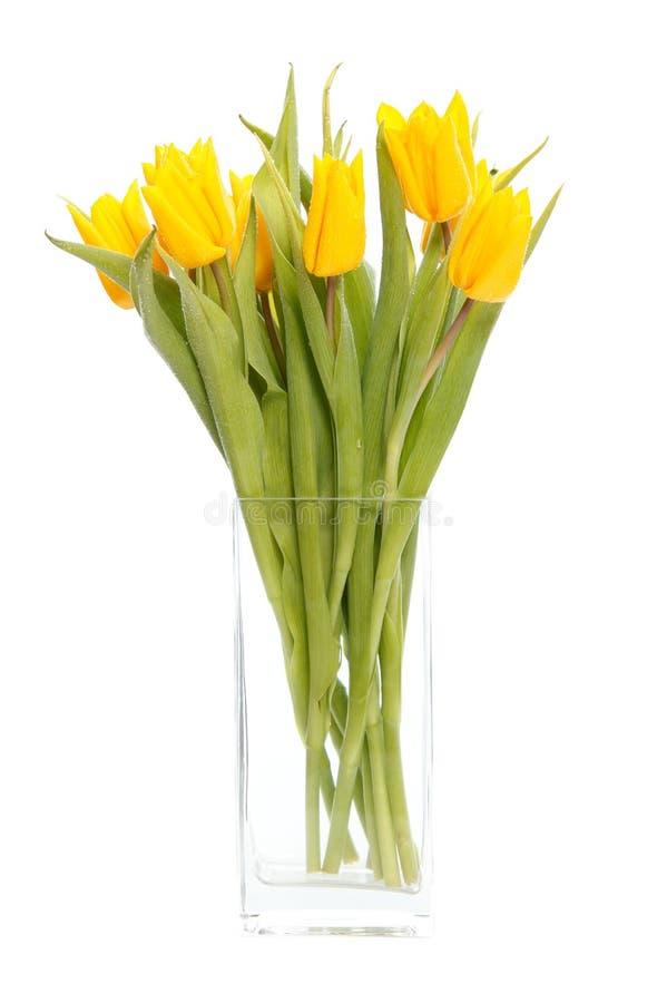Tulipes jaunes dans le vase images stock