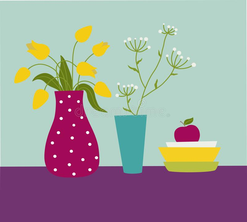 Tulipes jaunes dans un vase rouge illustration de vecteur