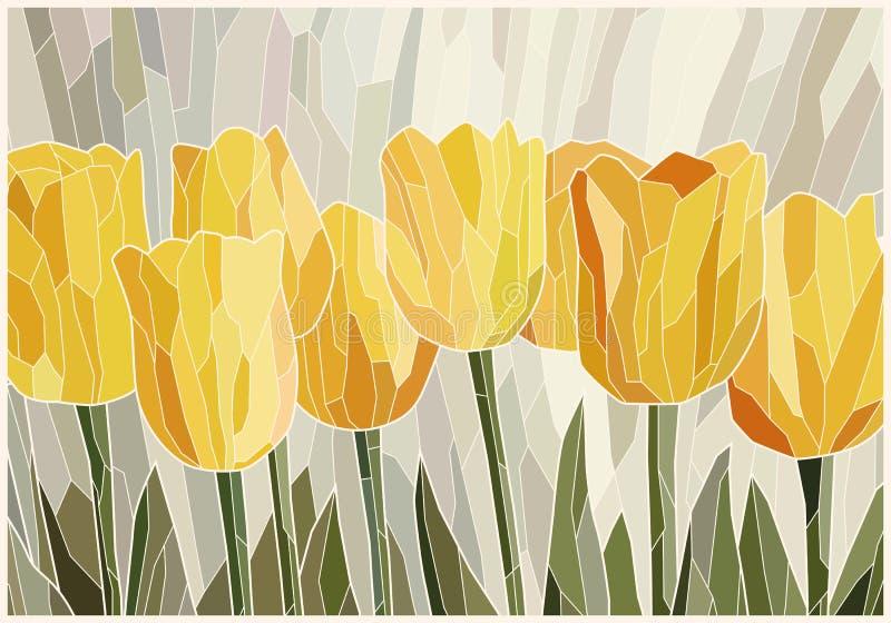 Tulipes jaunes en verre souillées sur le fond scénique gris illustration de vecteur