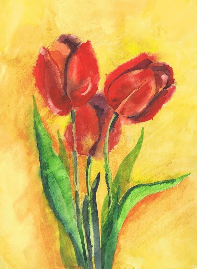 Tulipes rouges de dessin sur un fond jaune Papier, aquarelle illustration de vecteur