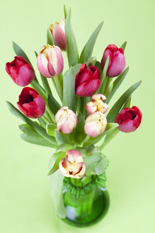 Tulipes rouges et jaunes dans un vase image stock