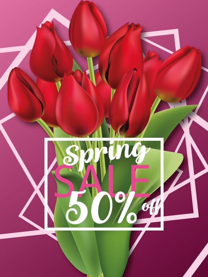 Tulipes rouges réalistes Bouquet remises de ressort, livret, vecteur de brochure photographie stock