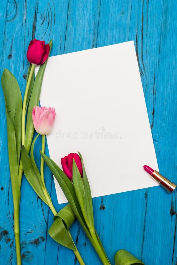 Tulipes sur un conseil en bois blanc images libres de droits