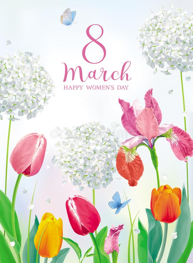 Free Tulips And Spring Flowers For 8 March Vector Greeting Card Stock Images - 139299514