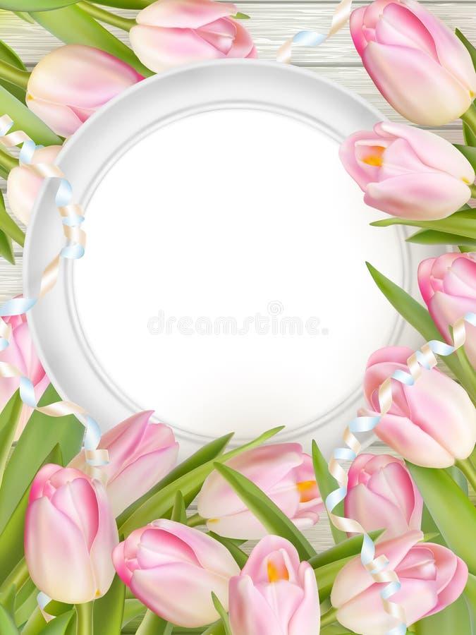 Tulips and blank white frame. EPS 10 vector illustration