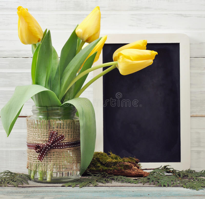 Download Tulips Bouquet With Blank Blackboard Stock Photo - Image: 39082558