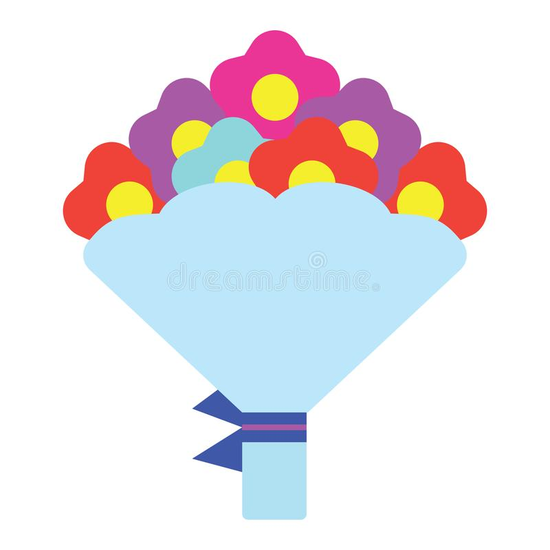 Tulips bouquet icon with tied bow vector illustration