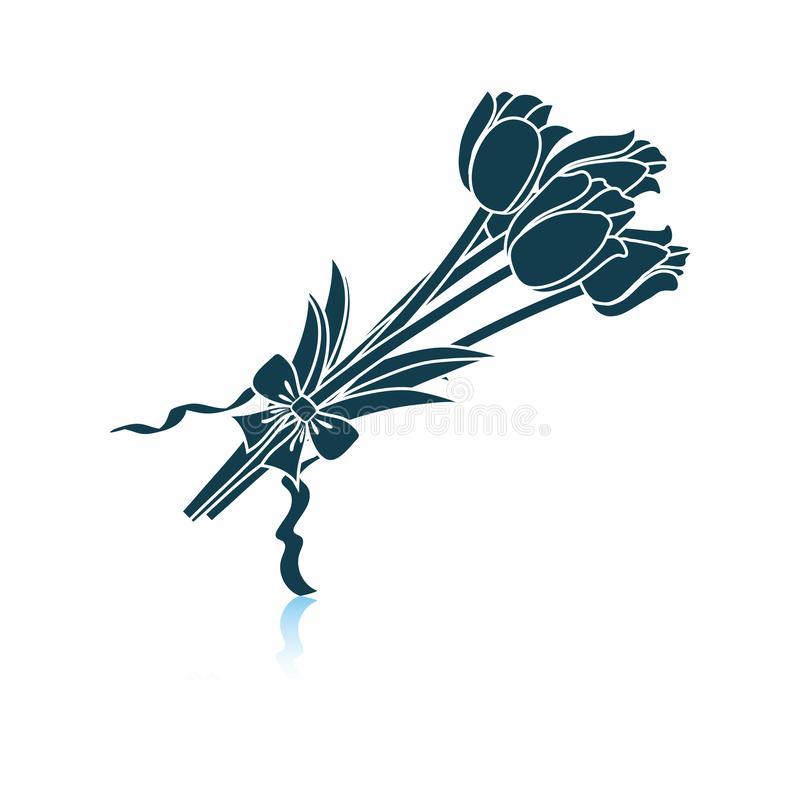 Tulips bouquet icon with tied bow stock illustration