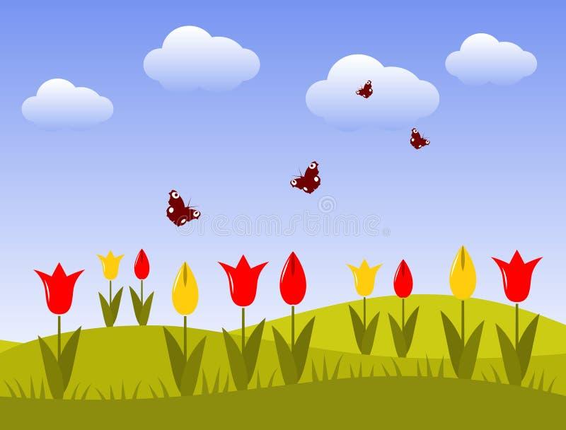 Download Tulips and butterflies stock vector. Image of garden - 17748428