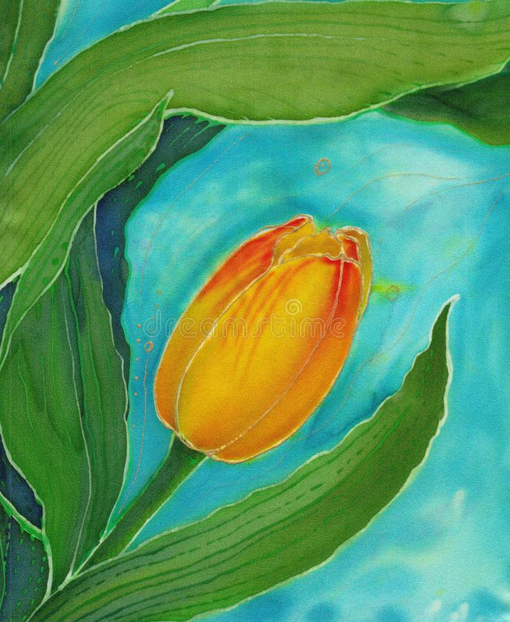 Tulips. Collage of flowers, leaves and buds on a watercolor background. Decorative composition. Batik. Use printed materials, signs, items, websites, maps stock illustration