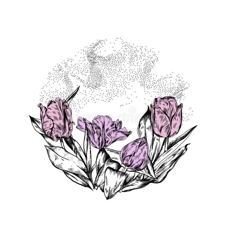 Tulips cycle de la composition décorative vintage illustration libre de droits
