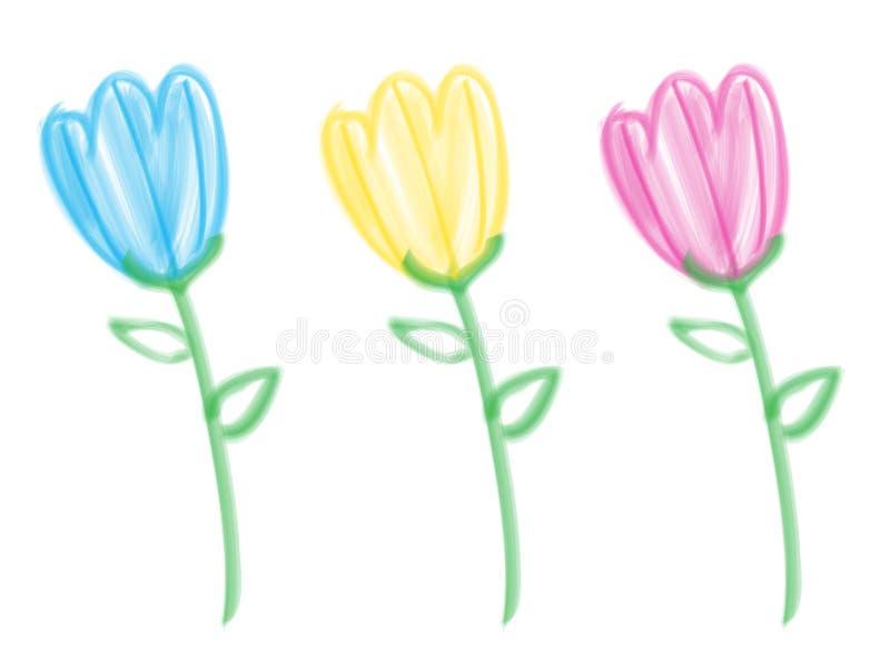 Tulips da escova de cerda ilustração stock