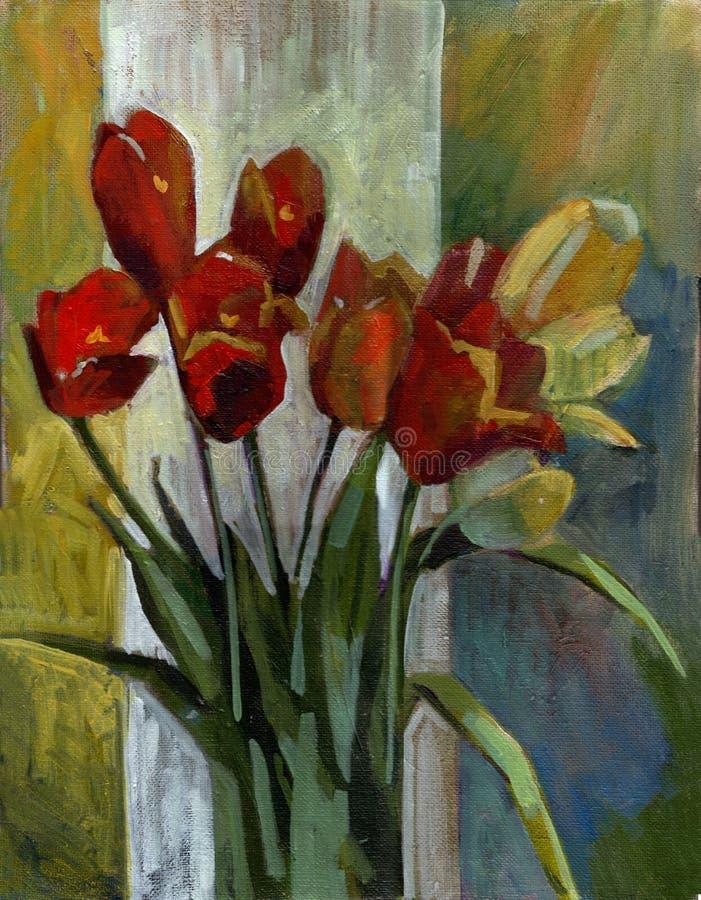 Tulips da pintura a óleo ilustração stock