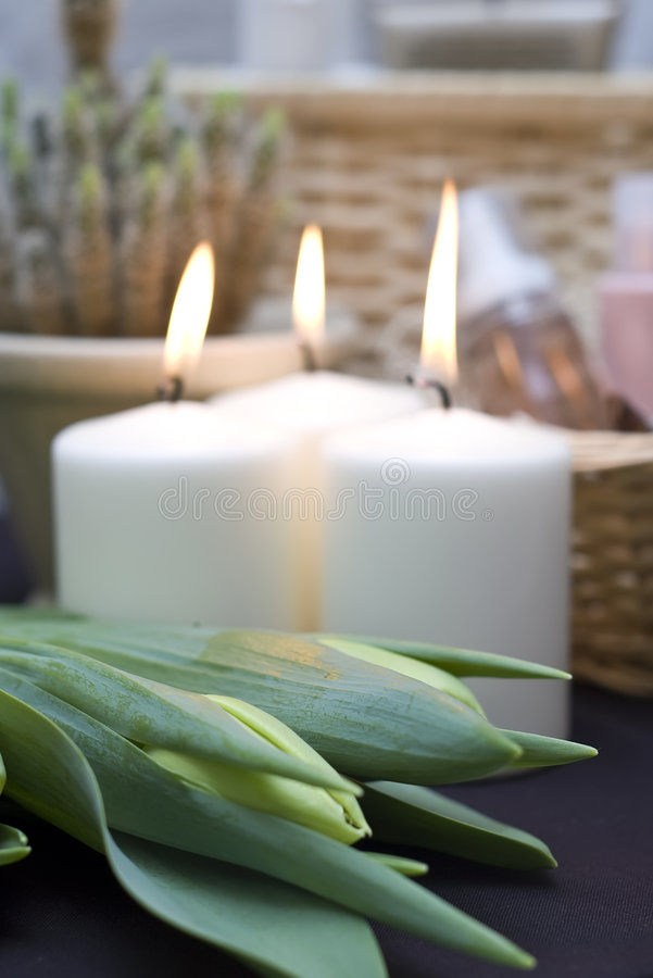 Tulips e velas   imagem de stock royalty free