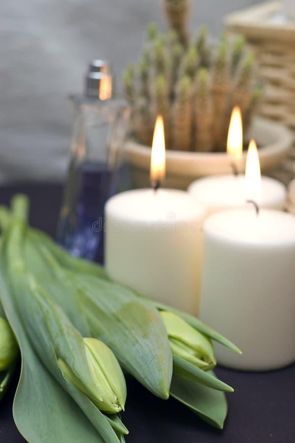 Tulips e velas fotografia de stock