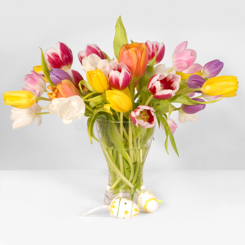 Tulips and easter eggs royalty free stock photos