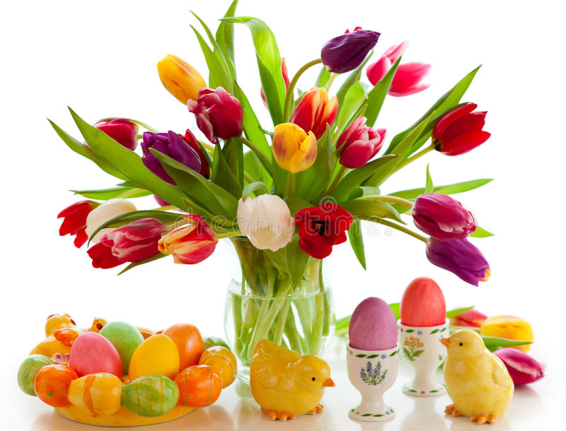 Tulips and easter eggs stock image