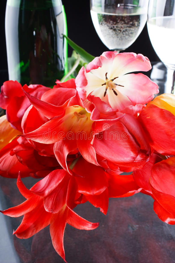 Tulips And Fizz Royalty Free Stock Photography