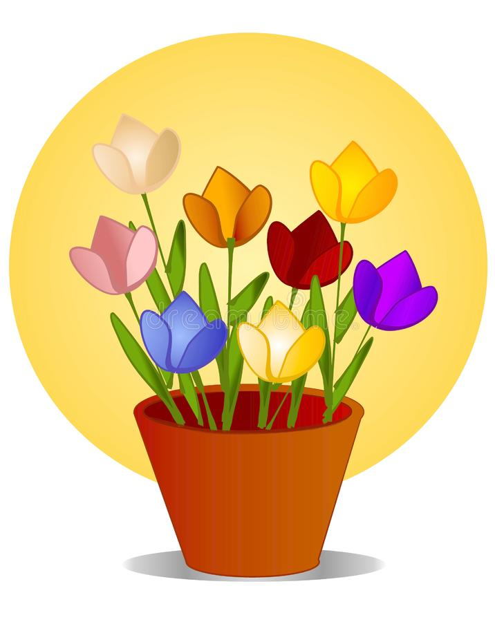 Tulips in Flower Pot With Sun royalty free stock photo