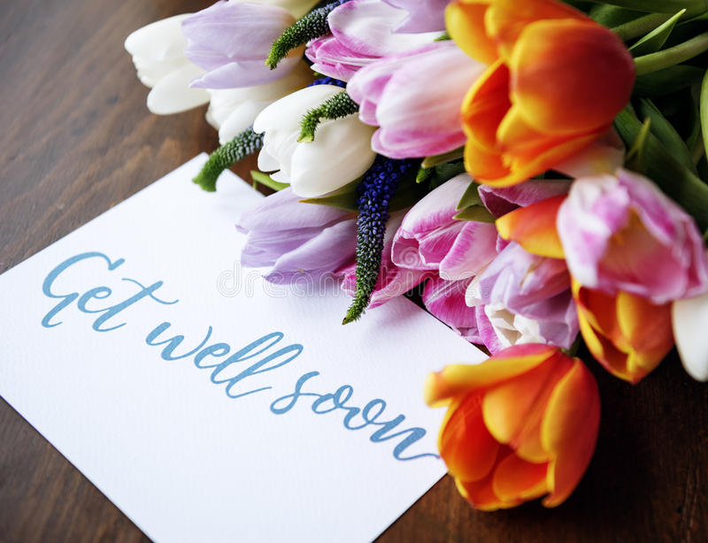 Tulips Flowers Bouquet With Get Well Soon Wishing Card Stock Image ...
