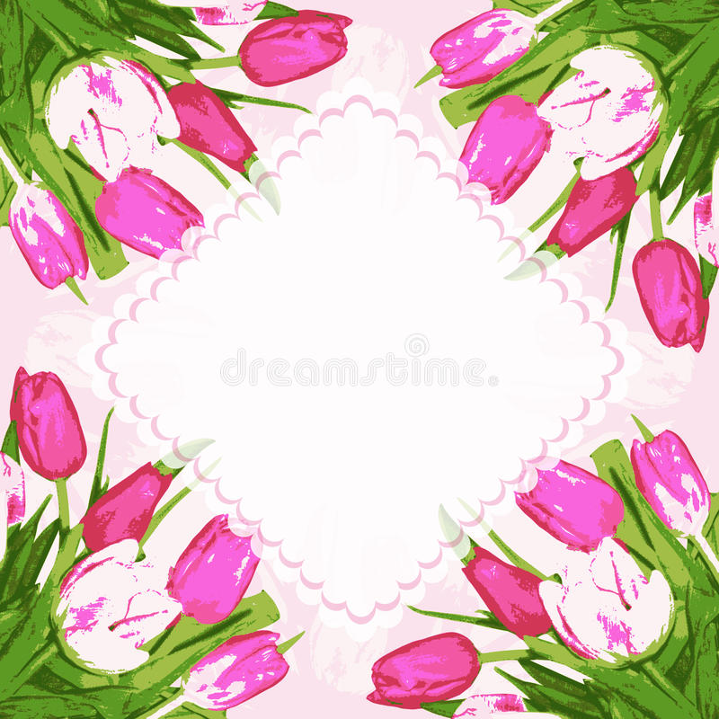 Tulips flowers with frame. Border with beautiful tulips flowers. Vector illustration vector illustration