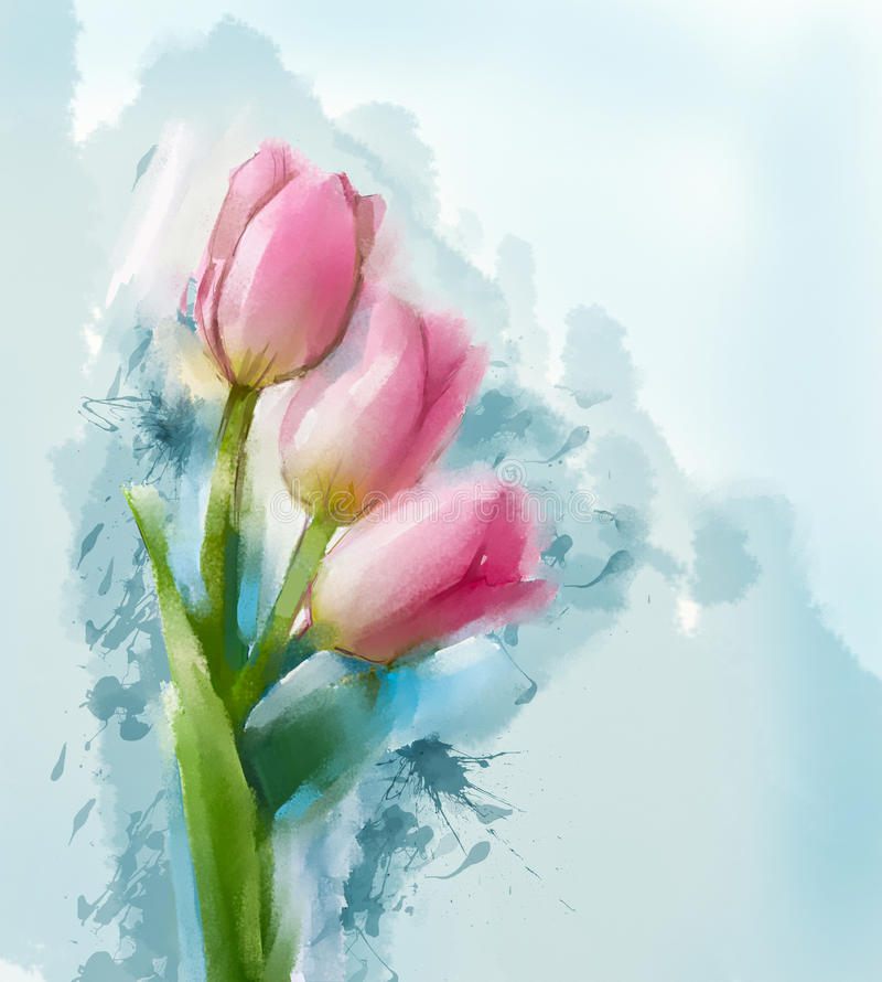 Tulips flowers painting. With blue space water colour background