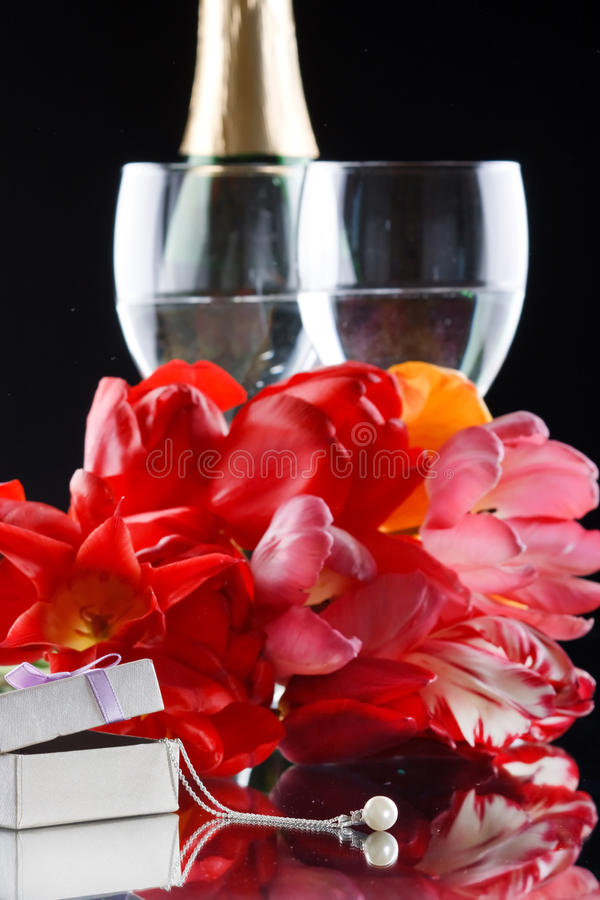 Tulips And Gift Royalty Free Stock Photos