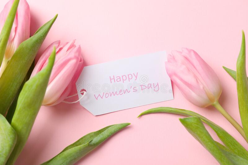 Tulips and Happy womens day on pink background. Close up stock image