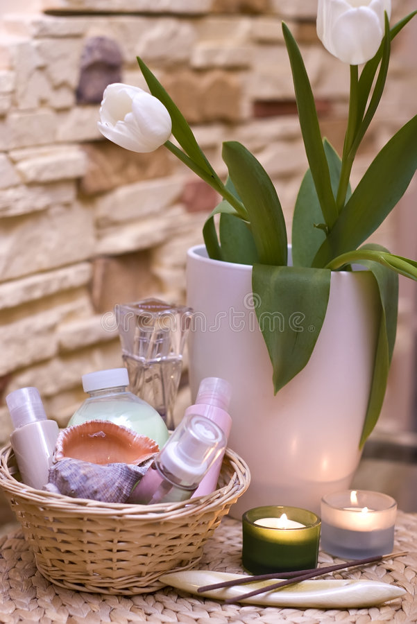 Tulips and home spa royalty free stock photos