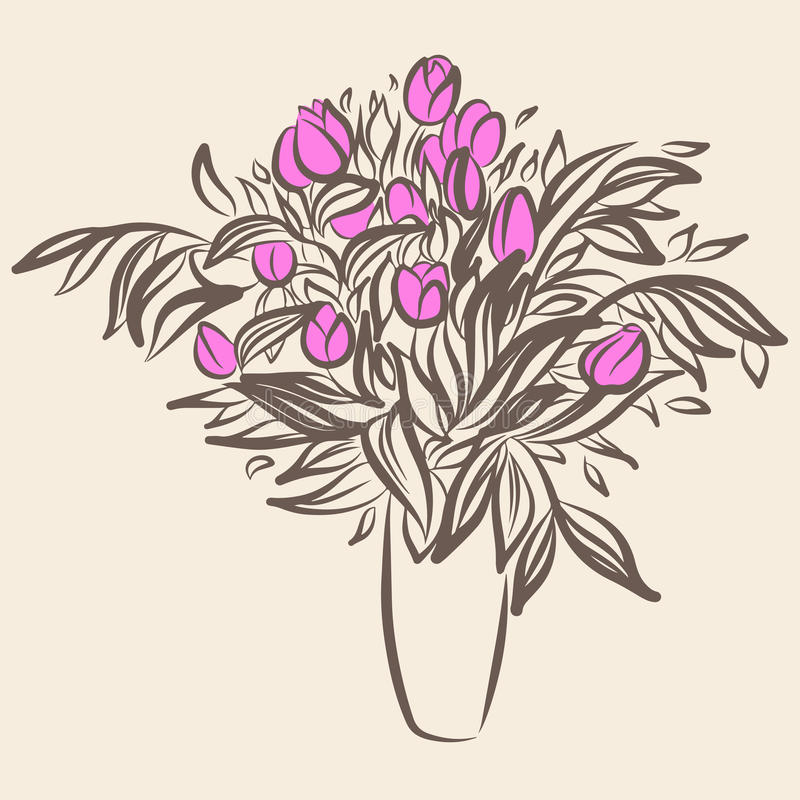 Free Tulips In Vase. Sketch Drawing In Vintage Style Stock Photos - 71075543