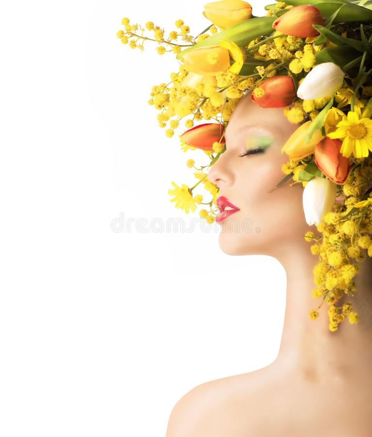 Tulips and mimosa beauty. Nature beauty with mimosa and colorful tulips stock image