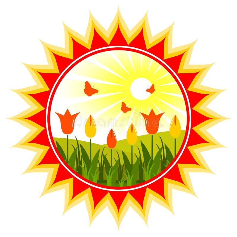 Tulips no sol ilustração stock