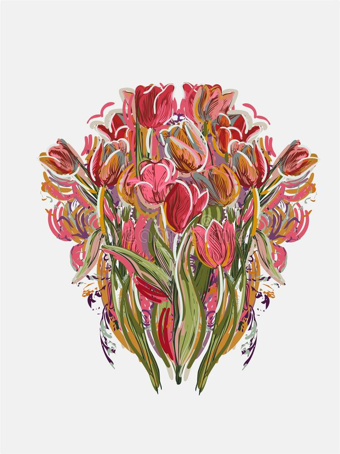 Tulips painted style vector card pink red stock illustration