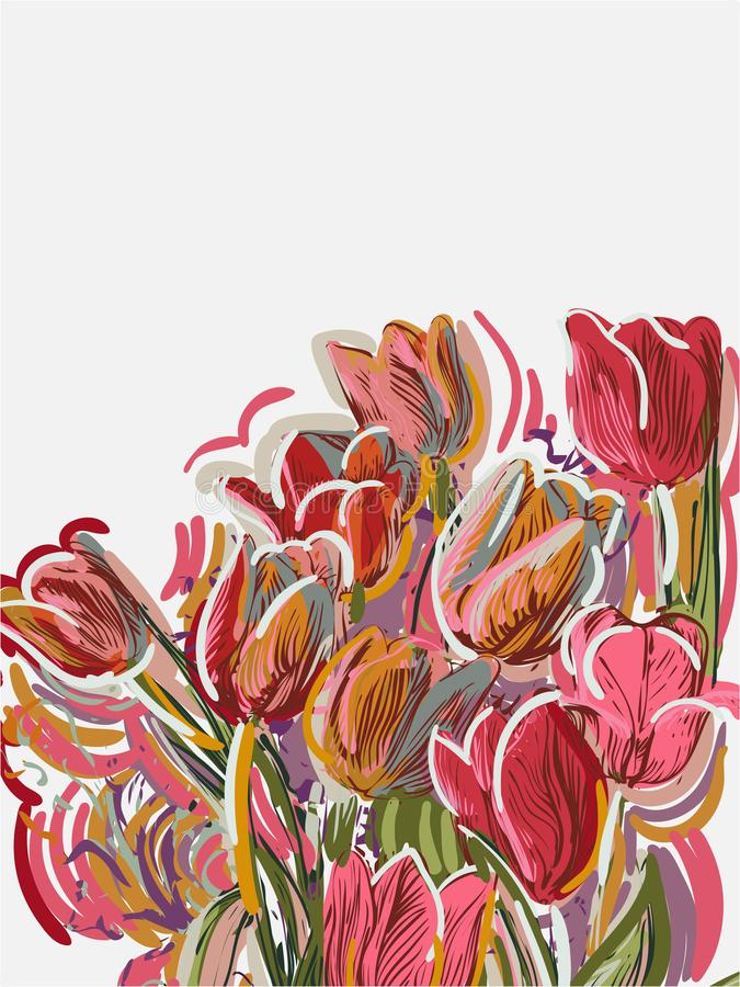 Tulips painted style vector card pink red royalty free illustration